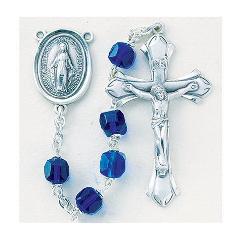 Sterling Silver Rosary - Czech Tin Cut Caribbean Blue Crystal Cube