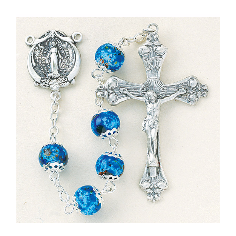 Sterling Silver Rosary - Blue Marble Glass Beads