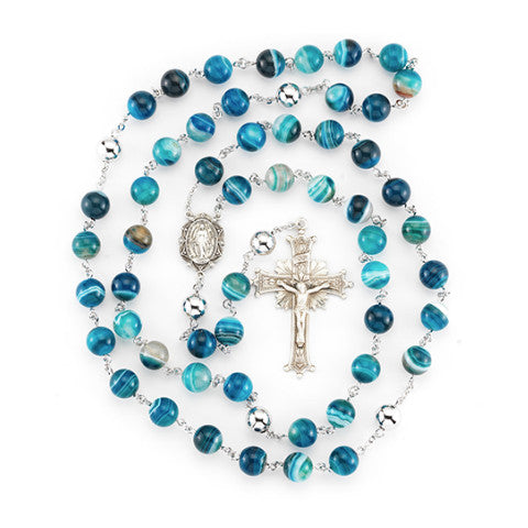 Striped Blue Agate Sterling Silver Rosary