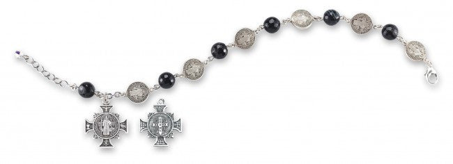 Saint Benedict Rosary Bracelet -Round Striped Black Agate