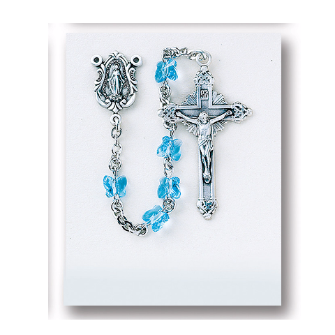 Sterling Silver Rosary - Aqua Swarovski Crystal Butterfly Beads
