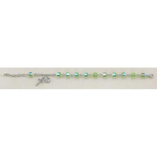Swarovski Crystal Peridot Cube Shaped Rosary Bracelet 6mm