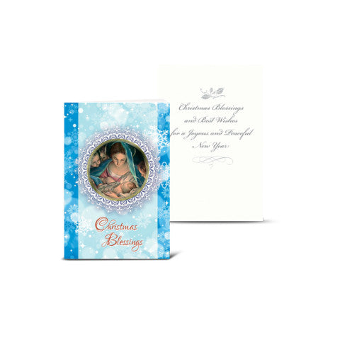 MARY AND INFANT WITH ANGELS CHRISTMAS CARD