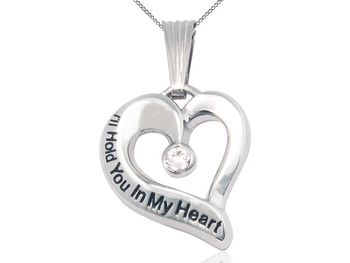 Sterling Silver Engraved Heart Birthstone Pendant - Crystal