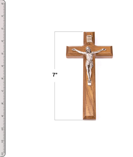 "7"" Walnut Cross Antique Silver Plated Corpus with Ruler"