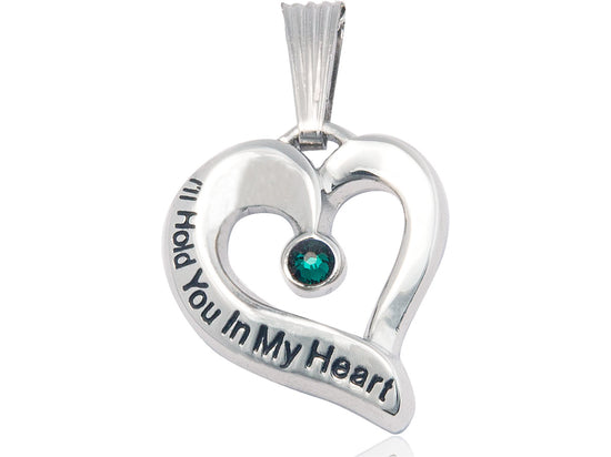 Sterling Silver Engraved Heart Birthstone Pendant - Emerald