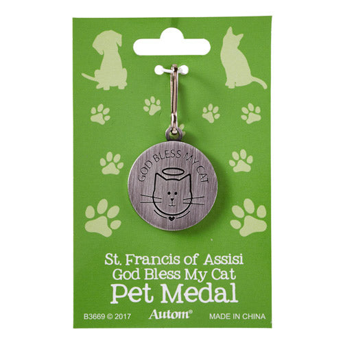 St. Francis 'God Bless My Cat' Pet Medal
