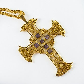 Filigree Gold Plated Pectoral Cross with Chain