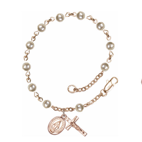 14Kt Gold Filled Rosary Bracelet - Faux Pearl