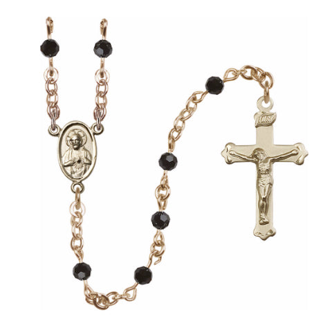14Kt Gold Filled Black Swarovski Bead Rosary