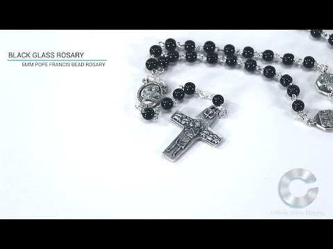 Pope Francis Rosary 6mm Black Glass Beads Video