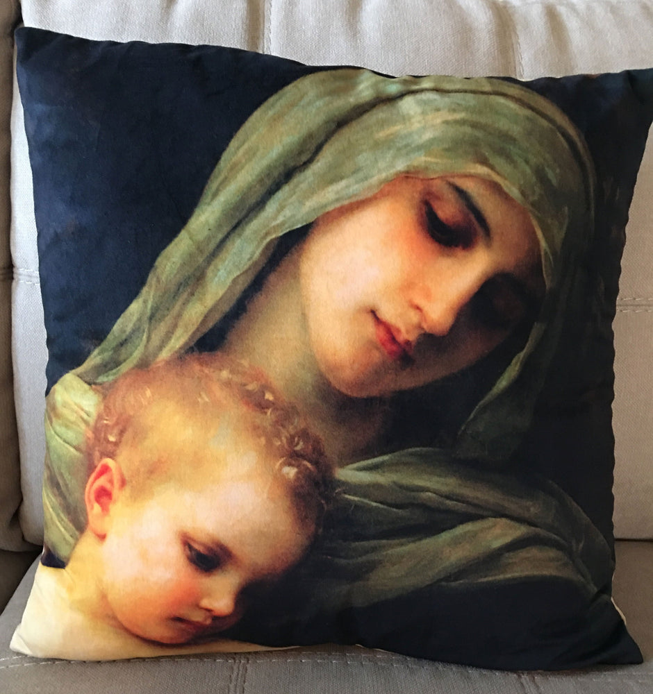 Front of Virgin & Baby Jesus Decorative Throw Pillow Cover
