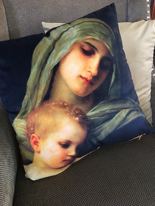 Front and back of Virgin & Baby Jesus Decorative Throw Pillow Cover