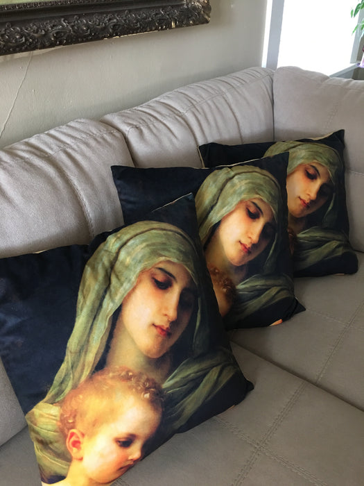 3 Virgin & Baby Jesus Decorative Throw Pillows on a couch