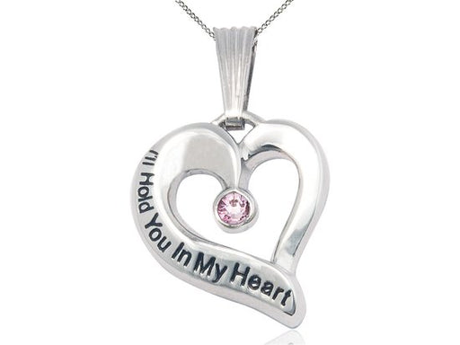 Sterling Silver Engraved Heart Birthstone Pendant - Light Amethyst