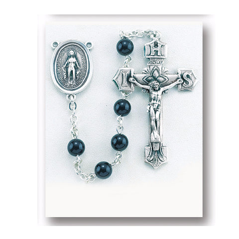 Sterling Silver Rosary - Round Onyx Beads