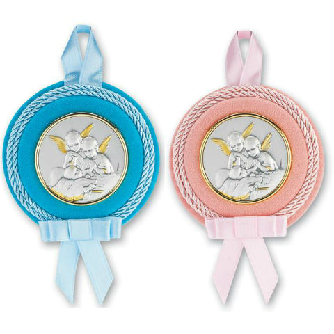 Moulded Crib Medal with Guardian Angel for Baby Nursery Room Decor Blue 3 1//4 Inch