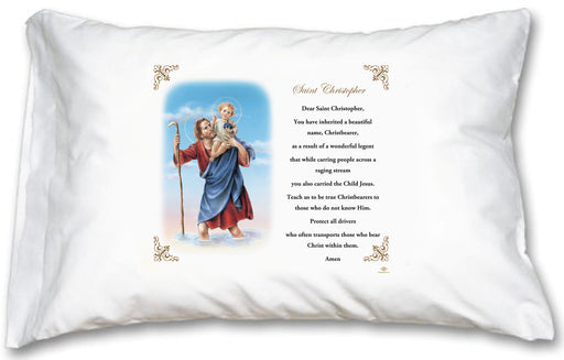St Christopher Pillow Case - English Prayer