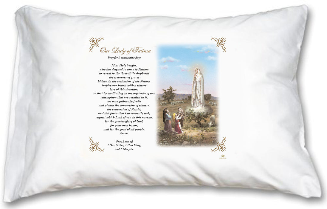 Our Lady of Fatima Novena Pillow Case - English Prayer