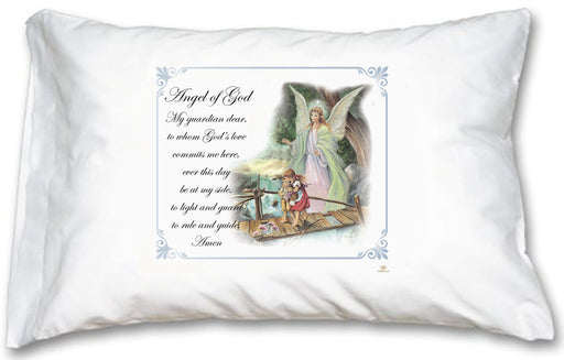 Guardian Angel Blue Border Pillow Case - English Prayer
