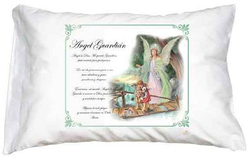 Guardian Angel Green Border Pillow Case - Spanish Prayer