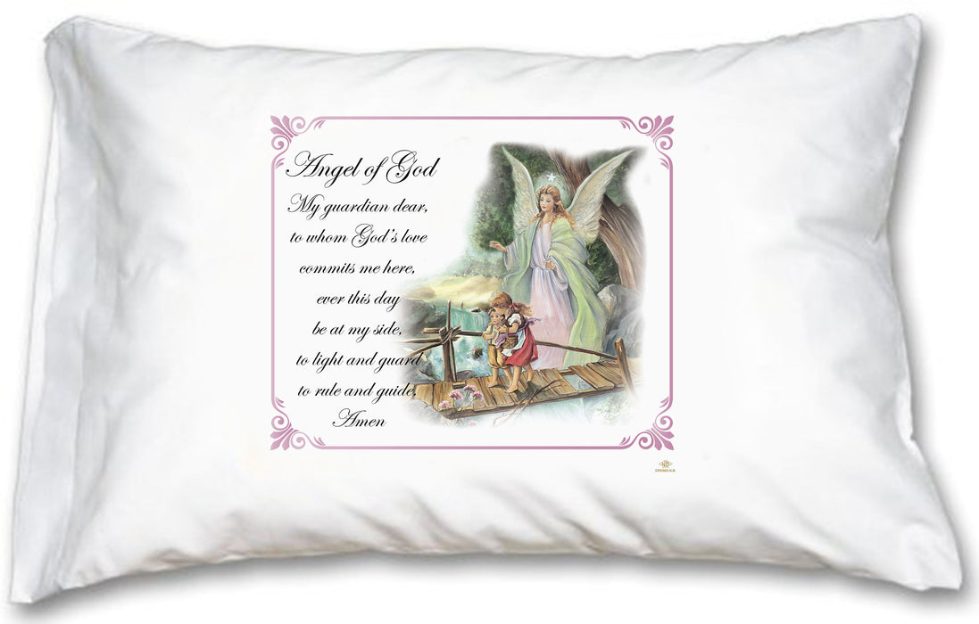 Guardian Angel Pink Border Pillow Case - English Prayer
