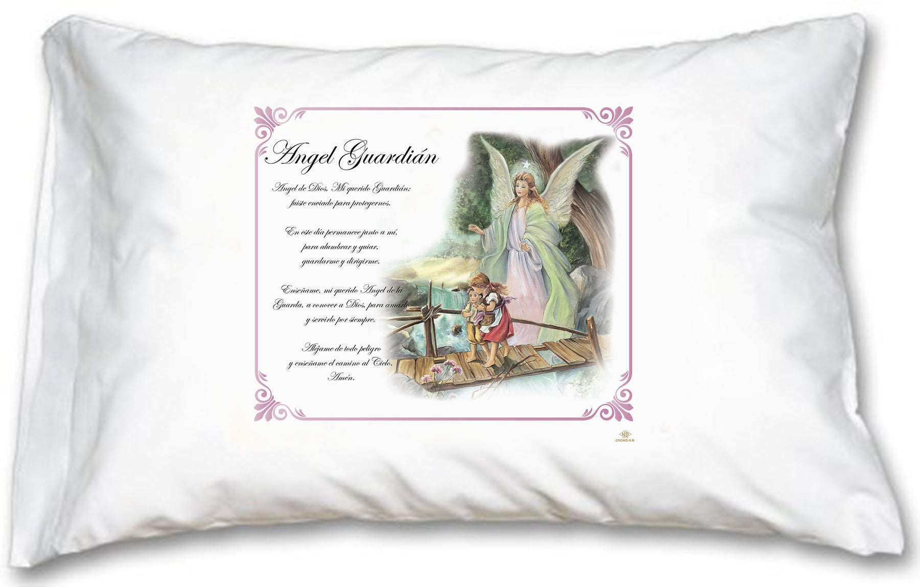 Guardian Angel Pink Border Pillow Case - Spanish Prayer