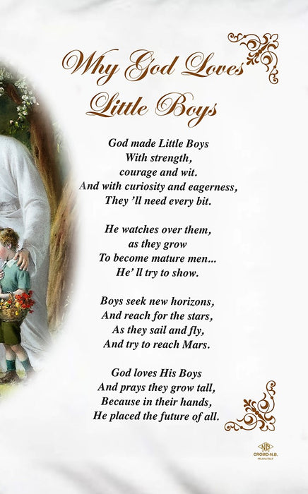Why GOD Loves Little Boys Pillow Case - English Prayer