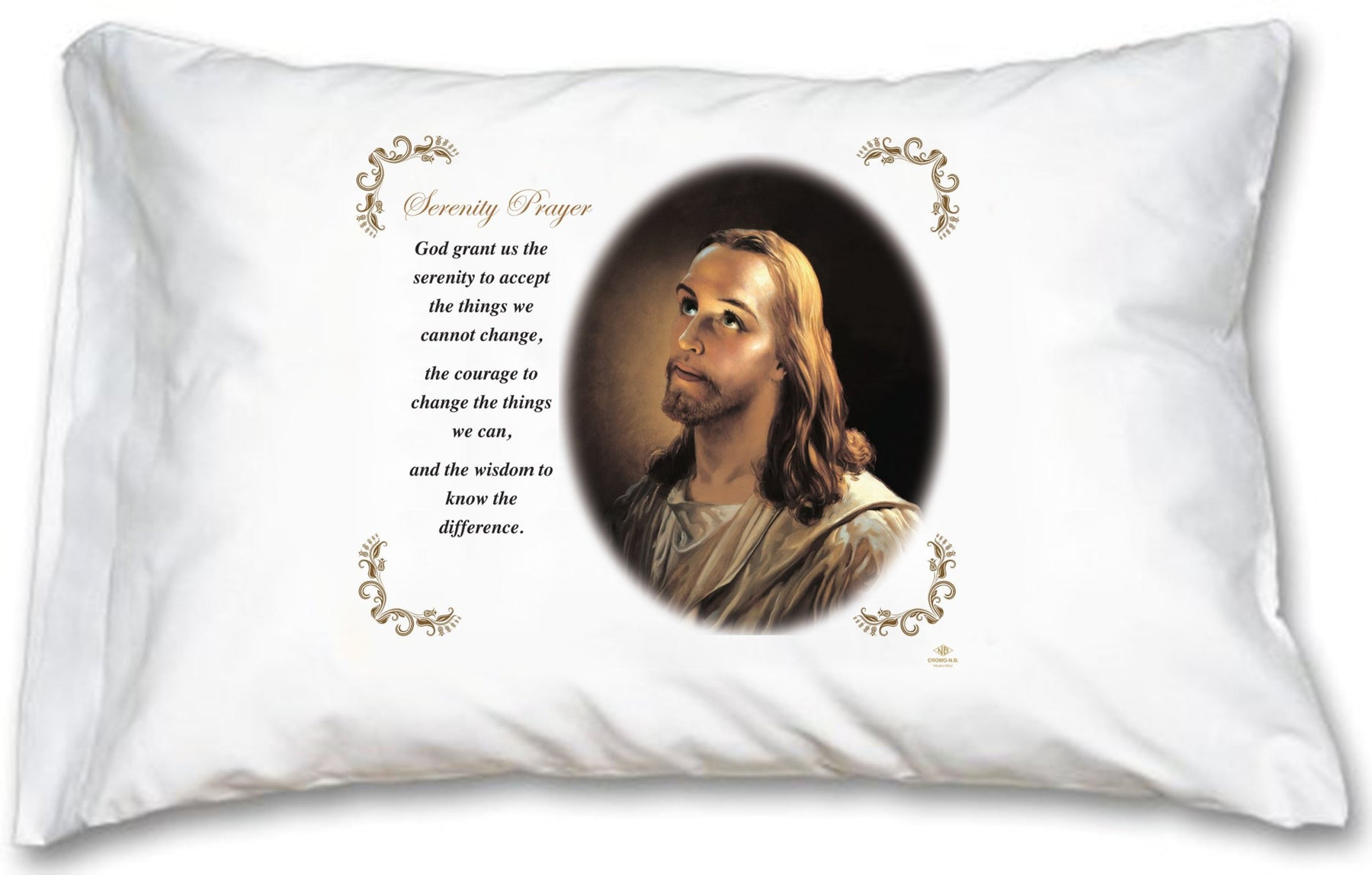 Serenity Prayer Head of Christ Pillow Case - English Prayer