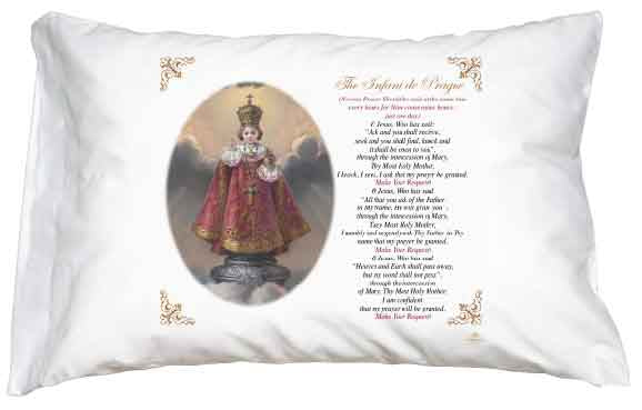 Infant of Prague Pillow Case - English Prayer