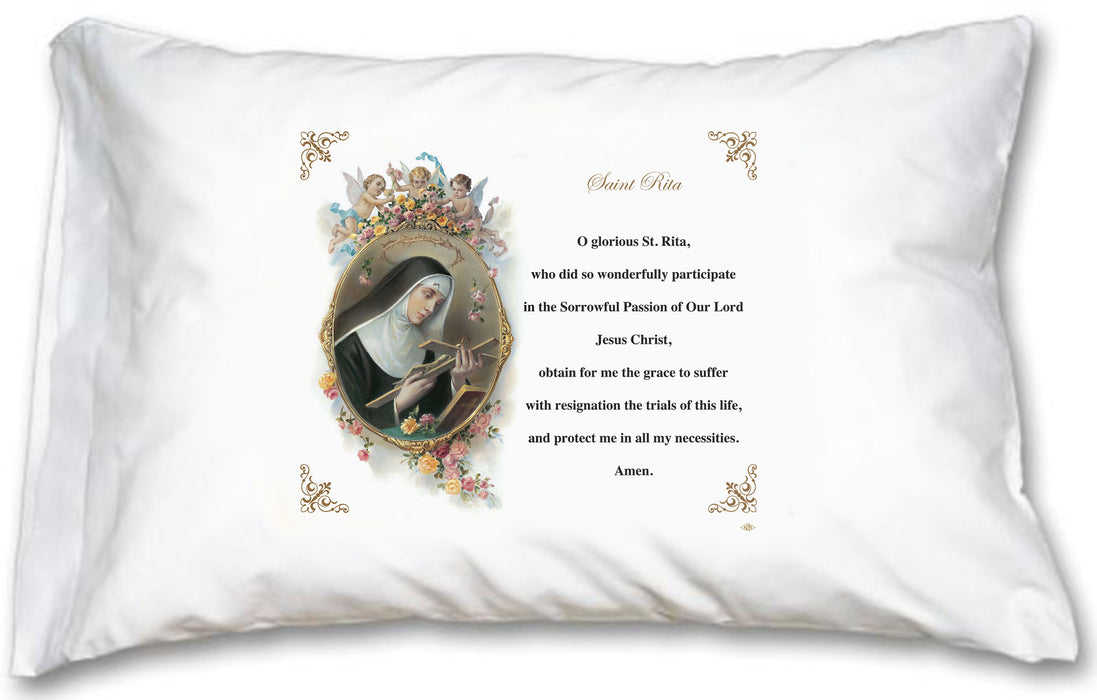 St  Rita of Cascia Pillow Case - English Prayer