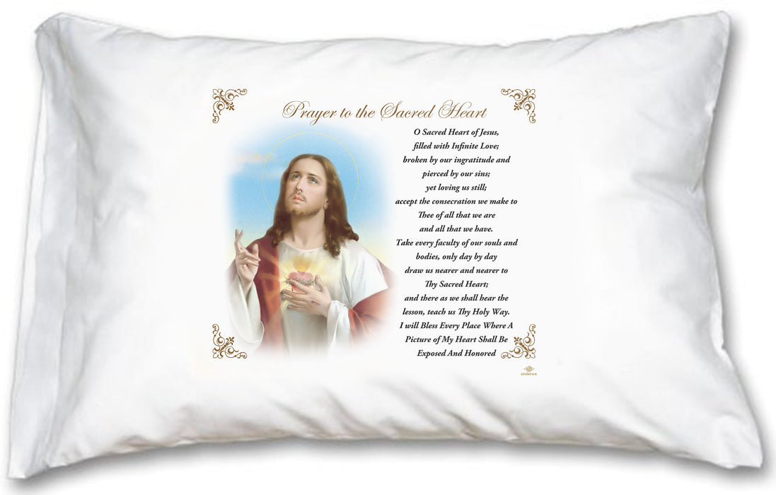 Sacred Heart of Jesus Pillow Case - English Prayer