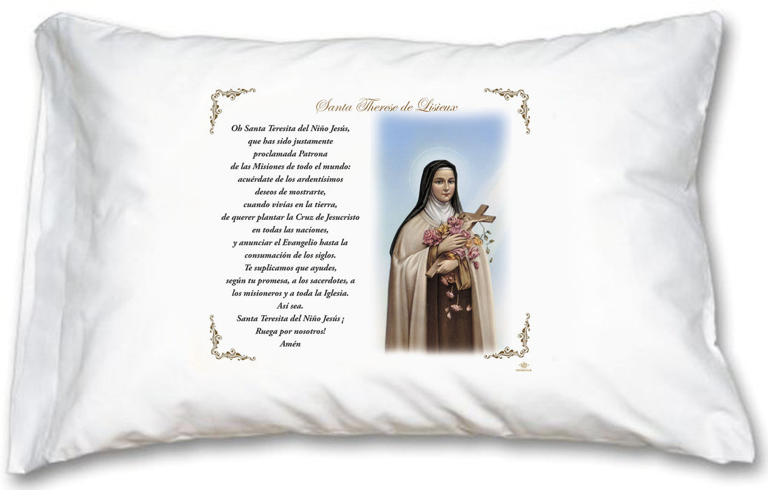 St Therese Little Flower Pillow Case - Spanish Prayer