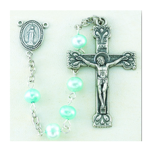 Fresh Water Pearl Light Blue Rosary