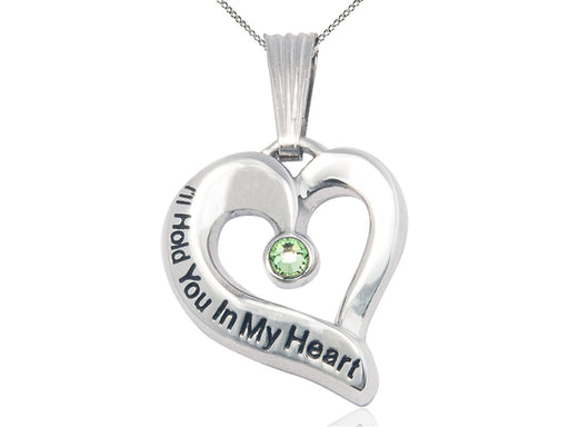 Sterling Silver Engraved Heart Birthstone Pendant - Peridot