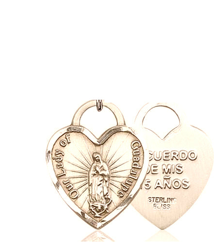Our Lady of Guadalupe Heart 14Kt Gold Medal