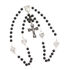 Pope Francis Rosary 6mm Black Glass Beads