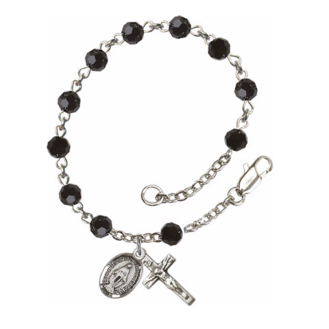 Sterling Silver Rosary Bracelet with Black Swarovski Beads