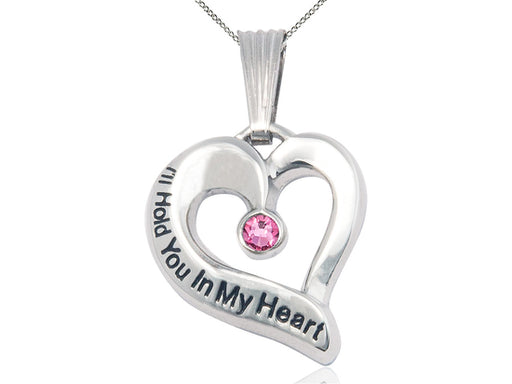 Sterling Silver Engraved Heart Birthstone Pendant - Rose
