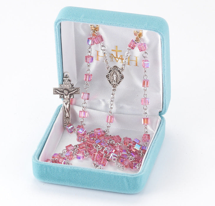 Pink Swarovski Cube Sterling Silver Rosary