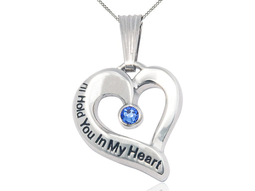 Sterling Silver Engraved Heart Birthstone Pendant - Sapphire