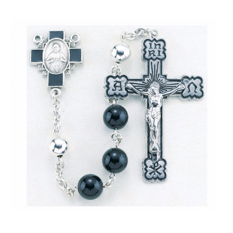 Sterling Silver Rosary - Round Onyx Beads with Scapular