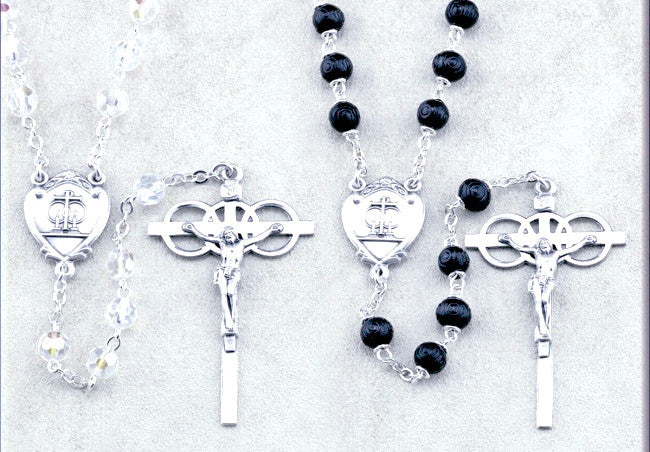 Glass and Black Boxwood Bead Wedding Rosary Set