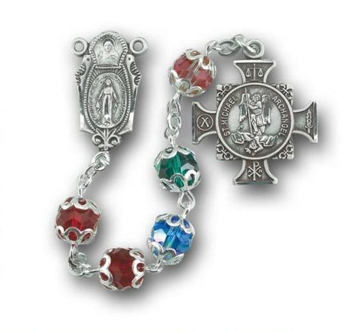 St. Michael Swarovski Crystal Sterling Multi Color Rosary