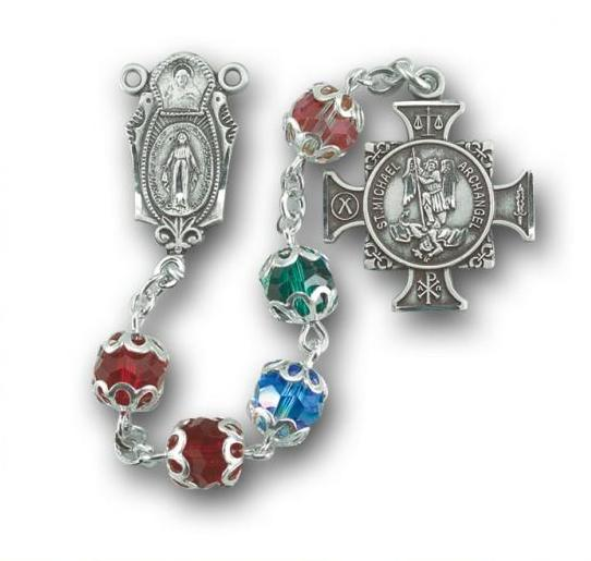 St. Michael Swarovski Sterling Silver Multi Color Rosary