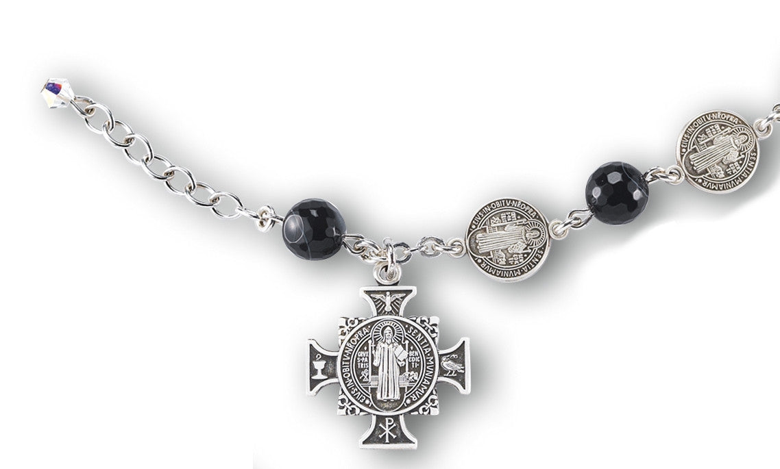 St. Benedict Rosary Bracelet -Round Striped Black Agate