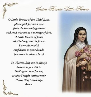 St. Therese of Lisieux 'Little Flower' Pillow Case - English Prayer