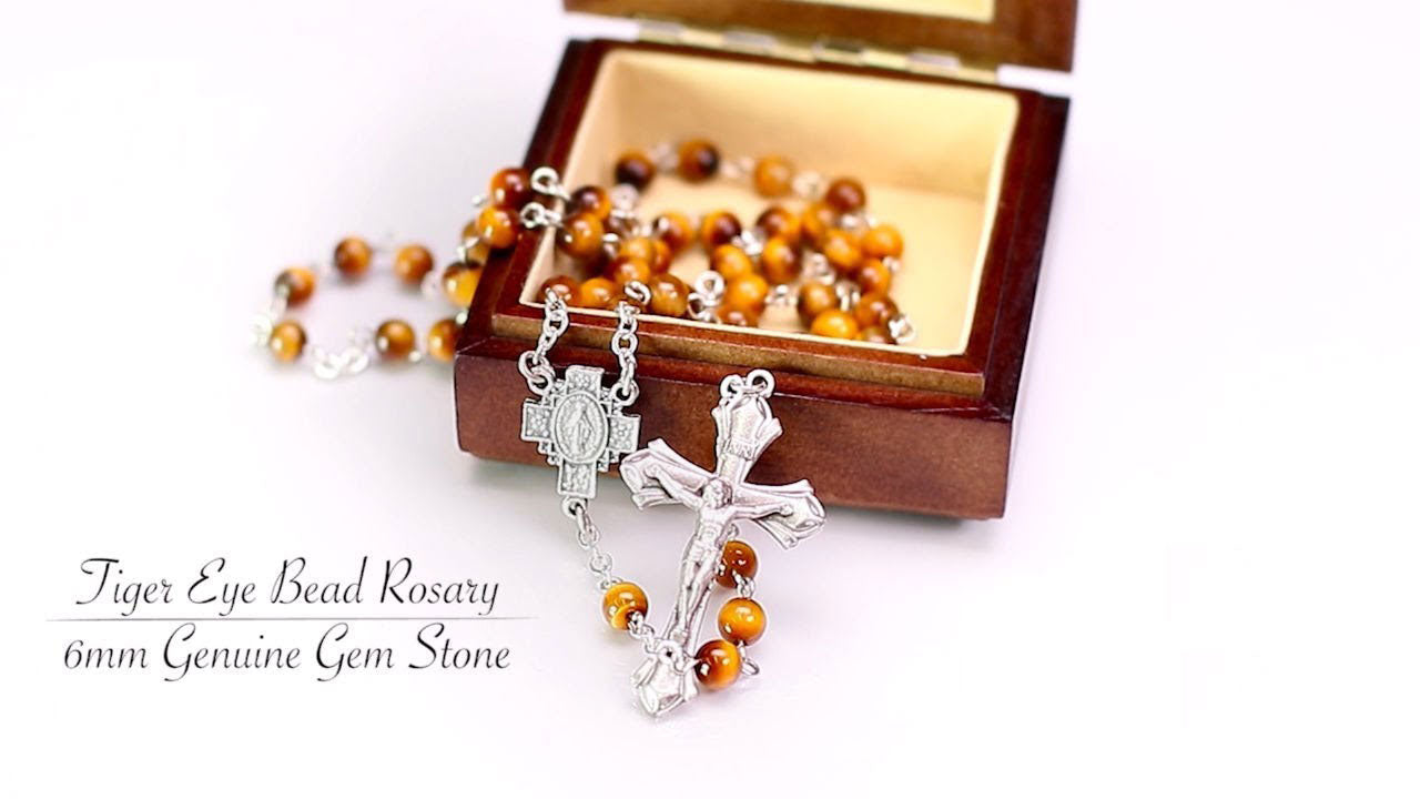 Tiger Eye Gemstone Bead Rosary