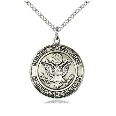 US Army ST. Christopher Pendant (Sterling Silver)