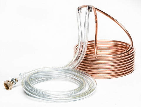 Copper wort chiller for cooling homebrewed beer - 25 feet long